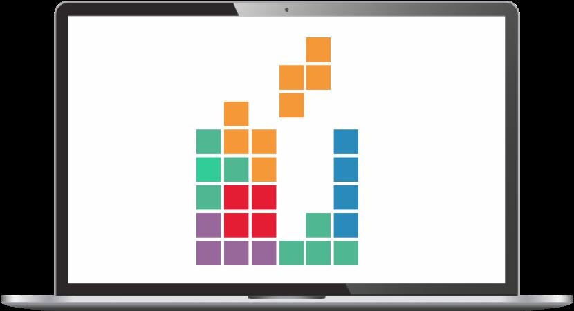 Fristående laptop med promate tetris i bilden