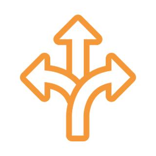ikon tre pilar i tre olika riktningar